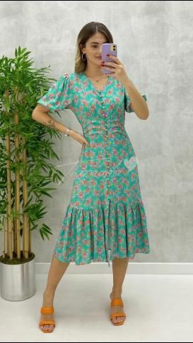 Ön Düğmeli Çiçek Desen Elbise