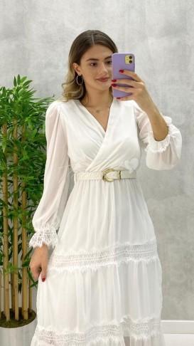 Dantel Detay Kemerli Elbise - Beyaz