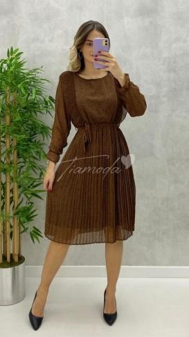 Piliseli Leopar Desen Şifon Elbise