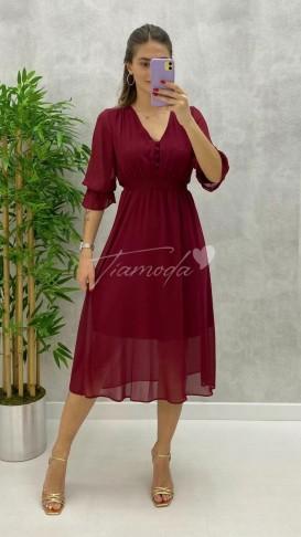Düğme Detay Şifon Elbise - Bordo