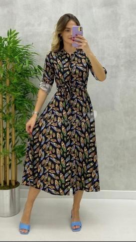 Yaprak Desen Gömlek Elbise