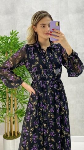 Mor Çiçekli Boydan Düğmeli Elbise