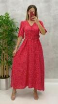 Yaka Düğmeli Desenli Elbise - Kırmızı