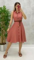 Kemerli Kolsuz Elbise - Pudra