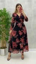 Maksi Boy Çiçekli Elbise - Siyah