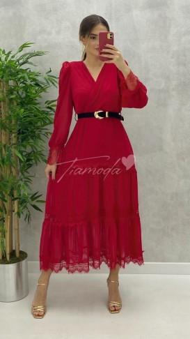 Dantel Detay Kemerli Elbise - Kırmızı