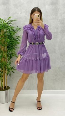 Yaka Fırfır Kemerli Elbise - Lila