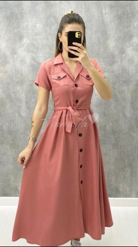 Kısa Kol Pileli Elbise - Pembe