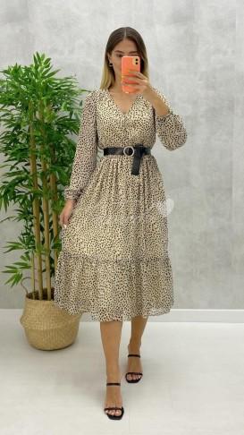 Düğme Detay Kemerli Elbise - Ekru