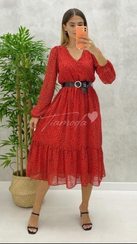Düğme Detay Kemerli Elbise - Kırmızı