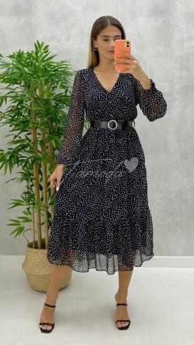 Düğme Detay Kemerli Elbise - Siyah