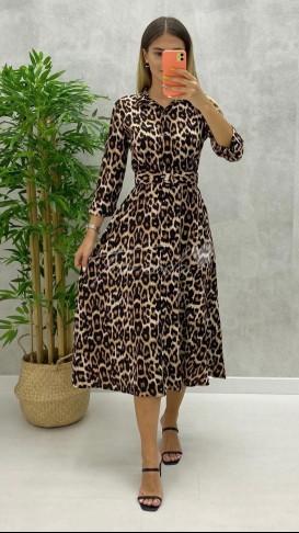 Leopar Desen Gömlek Elbise