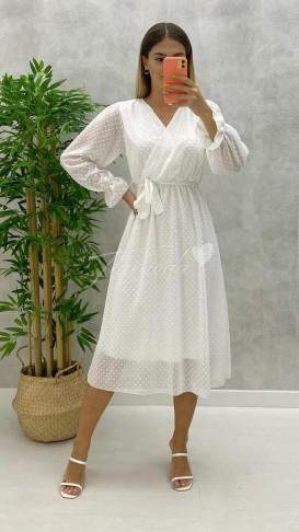 Noktalı Midi Şifon Elbise - Beyaz