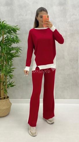 Şeritli Triko Takım - Kırmızı
