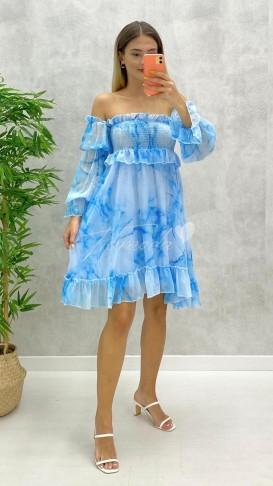 Omuz Açık Gipeli Elbise - Mavi