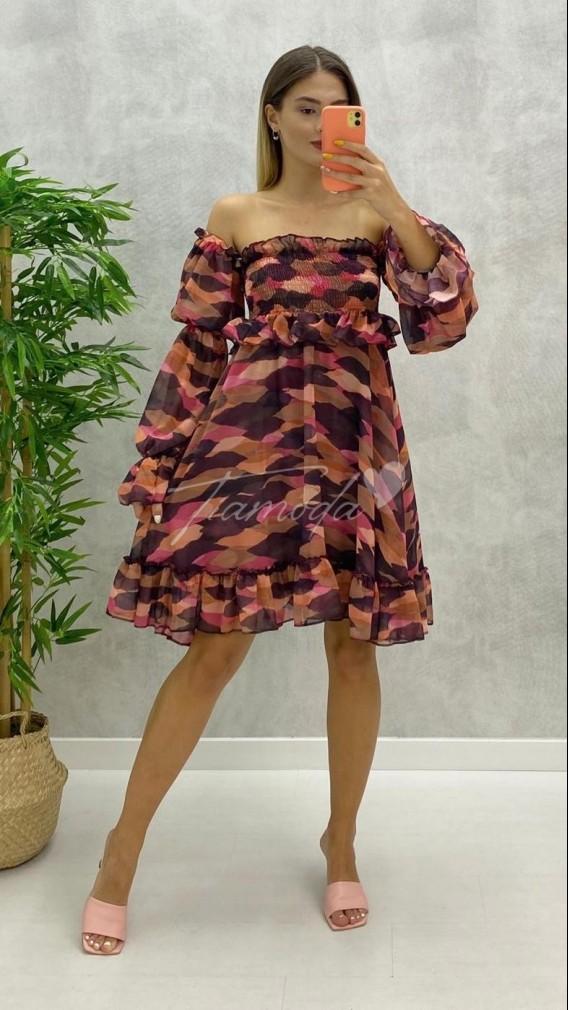 Omuz Açık Gipeli Elbise - Mor