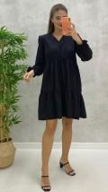 Uzun Kollu Mini Poplin Elbise - Siyah