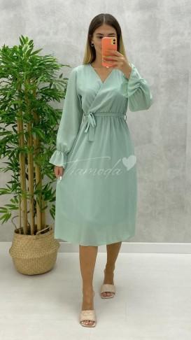 Kruvaze Yaka Midi Şifon Elbise - Mint