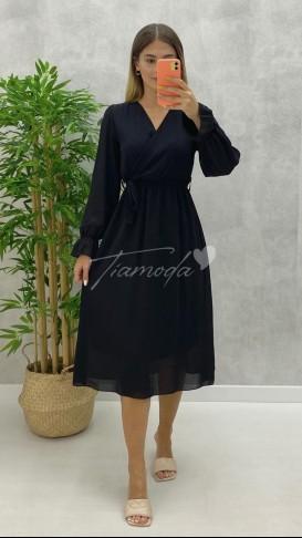 Kruvaze Yaka Midi Şifon Elbise - Siyah
