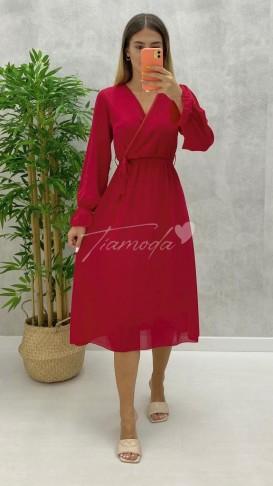 Kruvaze Yaka Midi Şifon Elbise - Kırmızı