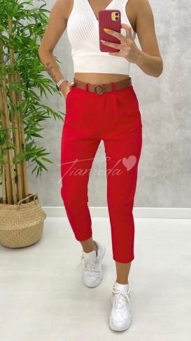 Kemerli Gabardin Pantolon - Kırmızı