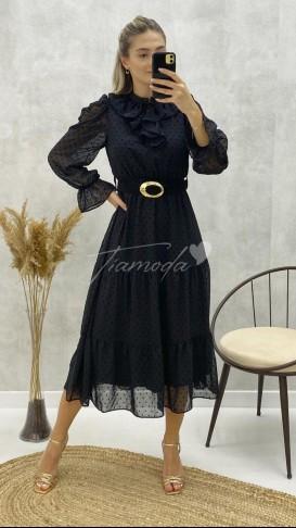 Yaka Fırfır Puantiyeli Elbise