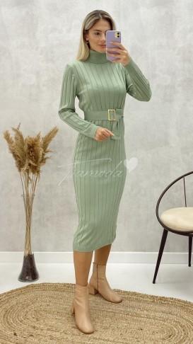 Kalın Fitilli Balıkçı Triko Elbise - Mint