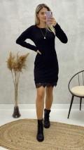 Dantel Detay Triko Elbise - Siyah