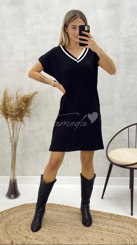 Yaka Detay Triko Elbise - Siyah