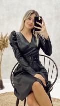 Prenses Kol Deri Elbise - Siyah