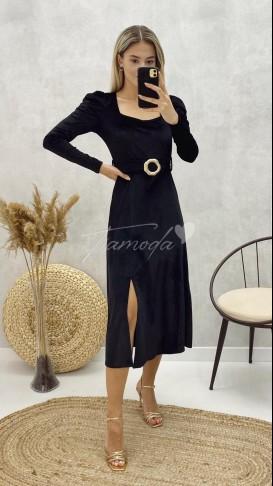 Tek Yırtmaç Midi Kadife Elbise - Siyah