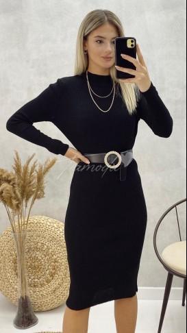 Yarım Balıkçı Triko Elbise - Siyah