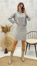 Elbise Kazak Triko Takım - Gri