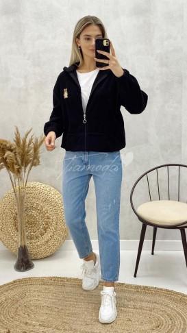 Fermuarlı Yumoş Ceket - Siyah