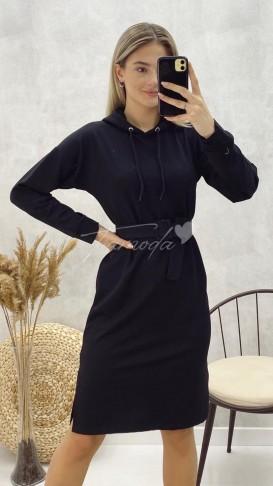 Kemerli Sweat Elbise - Siyah