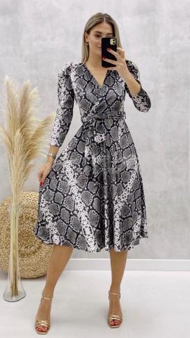 Yılan Desen Kadife Elbise - Gri