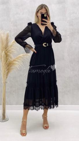 Dantel Detay Kemerli Elbise - Siyah