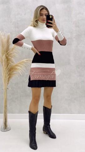 Eteği Pileli Balıkçı Triko Elbise - Pudra