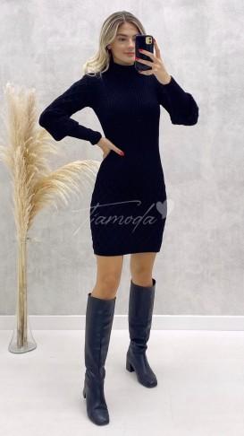 Baklava Desen Triko Elbise - Siyah