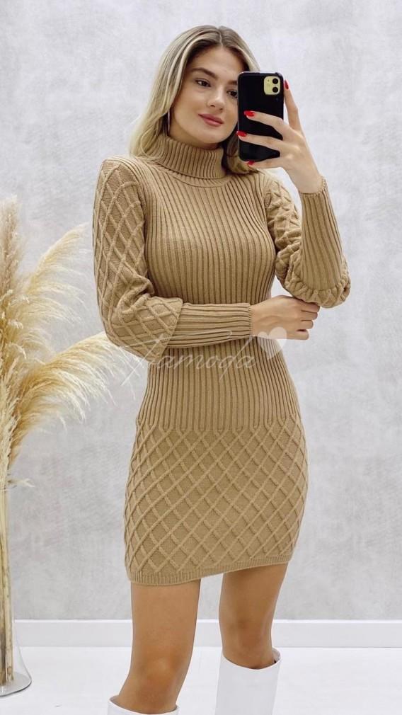 Baklava Desen Triko Elbise - Bej