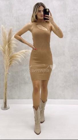 Pencere Yaka Kolsuz Elbise - Bej