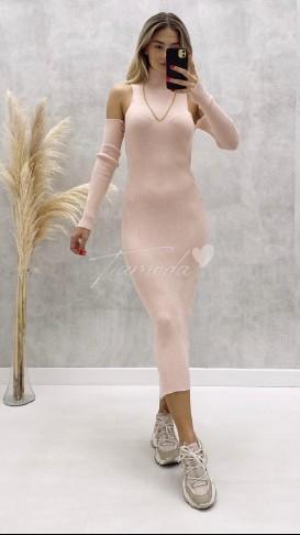 Omuz Açık Fitilli Elbise - Pudra
