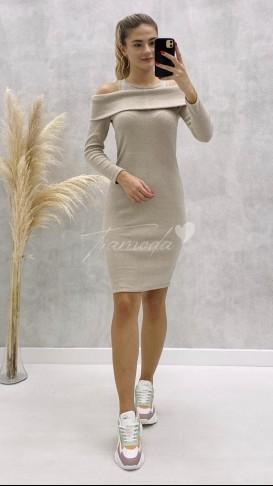 Atlet Detaylı Yumoş Elbise - Krem