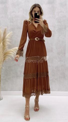 Dantel Detay Kemerli Elbise - Tarçın