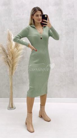 Gömlek Yaka Fitilli Elbise - Mint