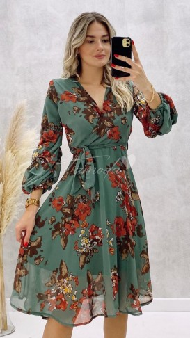 Çiçekli Midi Boy Şifon Elbise - Nefti Yeşili