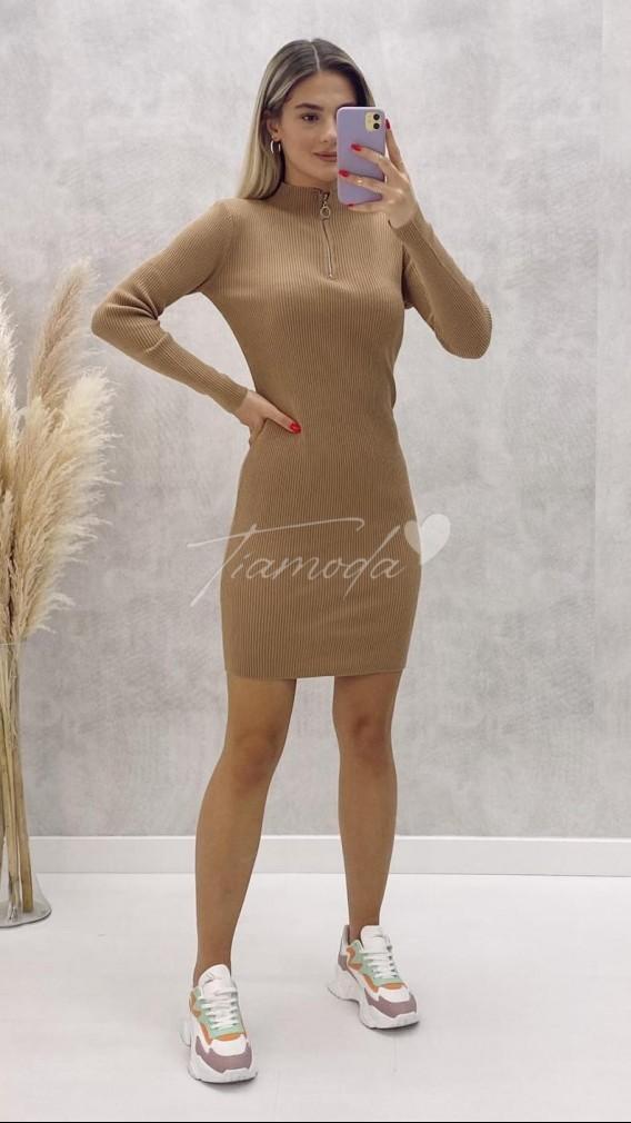 Fermuarlı Triko Elbise - Bej