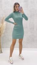 Fermuarlı Triko Elbise - Mint