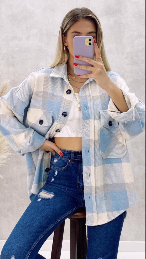 Oversize Oduncu Gömlek - Mavi