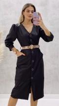 Kemerli Deri Elbise - Siyah